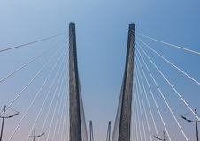一座现代桥梁的片段。 库存图片