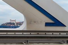 一座现代桥梁,布拉索夫,斯洛伐克的细节 免版税库存照片