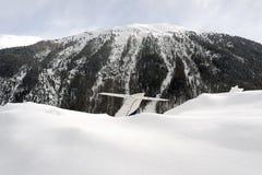 一座私人喷气式飞机和多雪的山的尾巴的看法在阿尔卑斯瑞士在冬天 库存图片