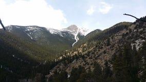 一座积雪覆盖的山在科罗拉多在春天 库存照片