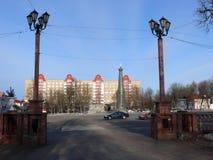 一座纪念碑在波洛茨克广场 图库摄影
