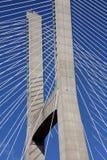 一座缆绳被停留的桥梁的细节 免版税库存图片