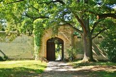 一座老中世纪城堡的门 库存照片