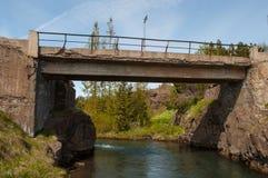 一座老桥梁在Glera河在冰岛 免版税库存照片