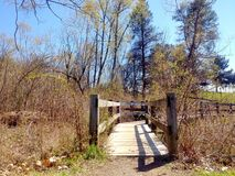 一座走道桥梁的低角度视图在水的 免版税库存图片