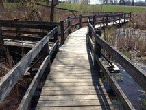 一座走道桥梁的看法在水的 免版税库存图片