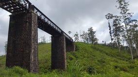 一座铁路轨道桥梁的侧视图 免版税库存图片