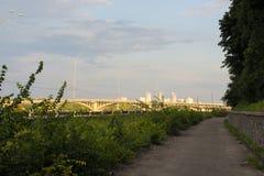 一座长的桥梁被紧贴在绿色树盖的小山之间 在绿叶之间的桥梁 库存照片
