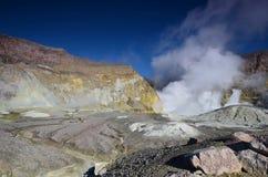 一座活火山的火山口的表面 新西兰 免版税库存图片