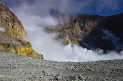 一座活火山的火山口的表面 新西兰 库存图片