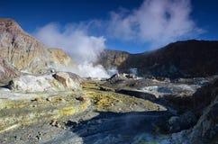 一座活火山的火山口的表面 新西兰 库存照片