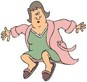 一开放长袍跳跃的妇女 库存照片
