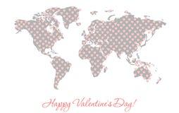 一张世界地图的剪影与纹理的以桃红色心脏的形式 免版税库存图片