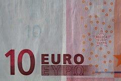 一张使用的10欧洲纸币票据的特写镜头 免版税库存图片