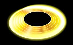 一张发光的金黄盘的例证在黑背景的 库存图片