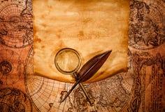 以一张古老地图为背景的空白的老纸 库存照片