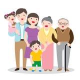 一张大愉快的家庭画象的图画 免版税库存照片