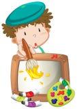 一张小男孩绘画 库存图片