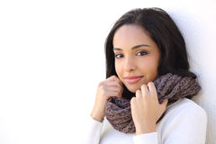 一张性感的妇女光滑的面孔的脸面护理在冬天 免版税库存照片