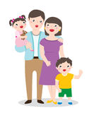 一张愉快的家庭画象的图画 免版税库存照片