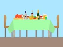 一张欢乐桌的传染媒介例证 免版税库存照片