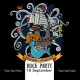 一张海报的设计一个岩石党的一次假日谈话的象一海盗天 免版税库存图片