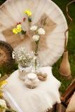 一张照片写真的婚礼装饰仿照破旧的池氏样式 免版税库存照片