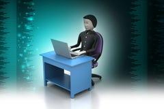 一张现代书桌的人有膝上型计算机的 库存图片