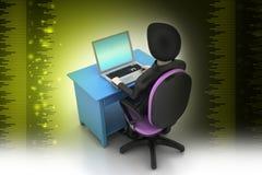 一张现代书桌的人有膝上型计算机的 免版税库存照片