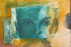 一张现代抽象丙烯酸酯的绘画的细节与一张虚构的面孔的 库存例证