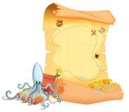 一张珍宝地图和一个章鱼在珍宝箱子上 向量例证
