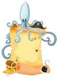 一张珍宝地图用一个大章鱼 库存例证