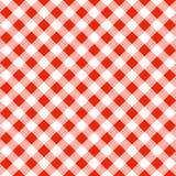 一张红色白色格子花呢披肩桌布的无缝的样式 免版税库存照片
