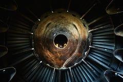 一张老喷气机引擎特写镜头照片的背景 库存照片
