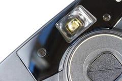 一张老影片塑料照相机正面图的特写镜头 免版税库存照片