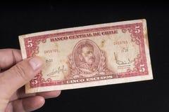 一张老智利钞票 库存照片
