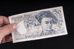 一张老法国钞票 库存照片