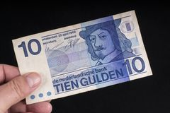 一张老荷兰钞票 免版税库存照片