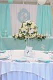 一张装饰的婚姻的客人桌的图象 免版税图库摄影