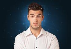 一张面孔的公认通过分层堆积滤网 免版税图库摄影