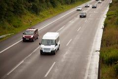 从一张顶视图的湿德国高速公路 库存图片