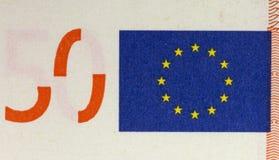 一张50欧元钞票的细节!!! 免版税库存图片