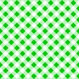 一张绿色白色格子花呢披肩桌布的无缝的样式 库存图片