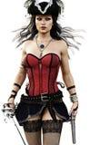 一性感的海盗女性走的画象往穿着束腰、潜近和裙子有手枪和剑的照相机 向量例证
