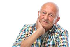 一愉快老人微笑的纵向 免版税库存照片