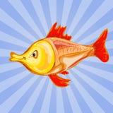 一愉快金鱼漫画人物挥动的例证 免版税库存照片
