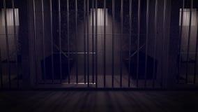 一所监狱在晚上 库存例证