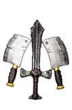 一把匕首和两个轴 免版税库存图片