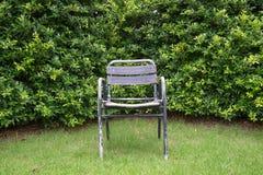 一把唯一老钢椅子在庭院里 免版税库存图片