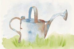 一把生锈的喷壶的手画水彩 免版税库存图片